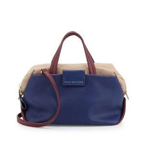 Marc by Jacob Leather Box Satchel Bag. Blue Multi